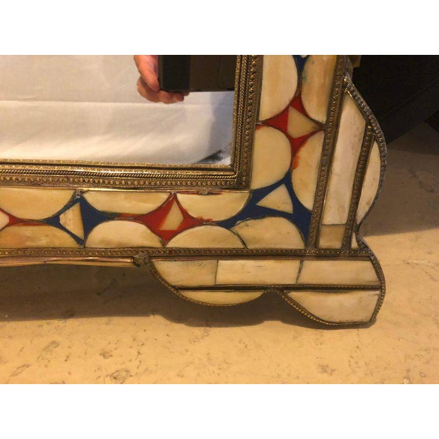 Moroccan White/Red and Blue Colored Bone Over Brass Frame Floor/Wall Mirror For Sale - Image 4 of 6