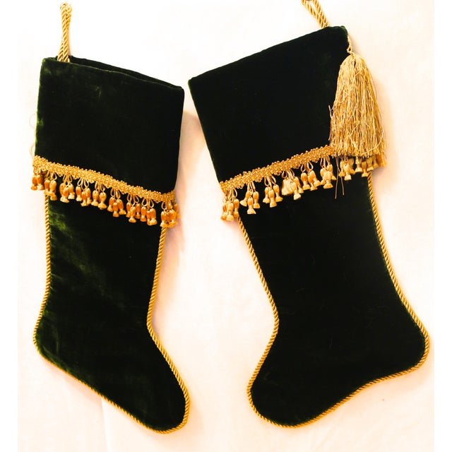 A pair of luxurious Velvet Stockings in Deep Christmas Green with Gold Rope Loop and Trim. The pair are vintage but never...