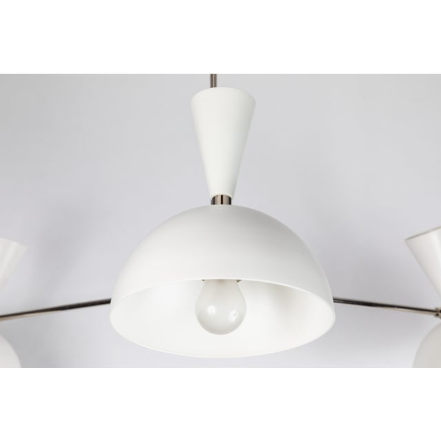 Large Three-Cone 'Lola II' Chandelier in White and Chrome For Sale In Los Angeles - Image 6 of 11