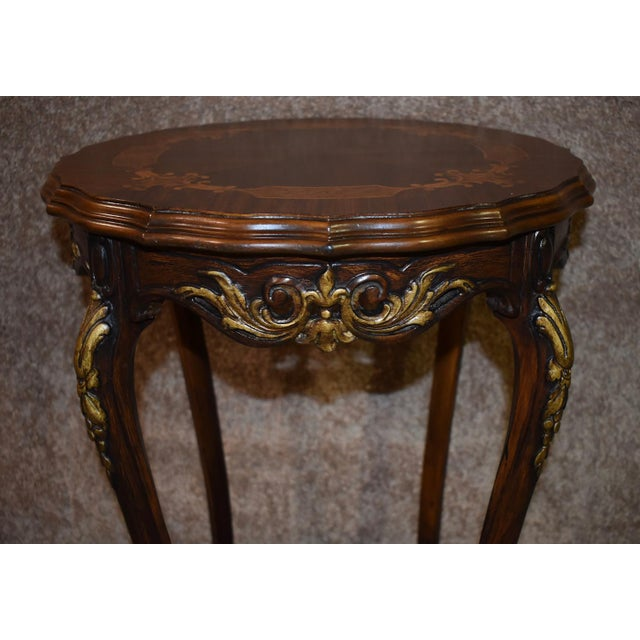 Gold 1950s French Carved & Inlaid Accent Table For Sale - Image 8 of 13