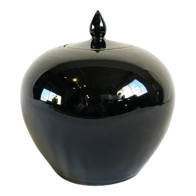 Black Ceramic Lidded Jar For Sale
