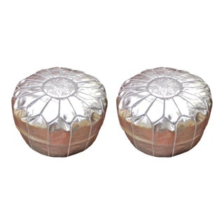 Modern Silver Moroccan Handmade Leather Pouf - a Pair For Sale