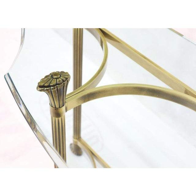 Bent Brass Base Curved Glass Top Figural Console Sofa Table For Sale - Image 12 of 13