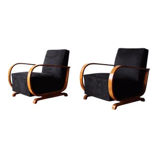 Vintage Art Deco French Lounge Chairs - A Pair For Sale