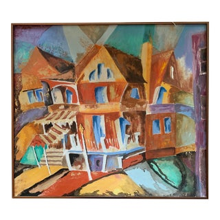 1980s Abstract Restaurant Signed Oil Painting For Sale
