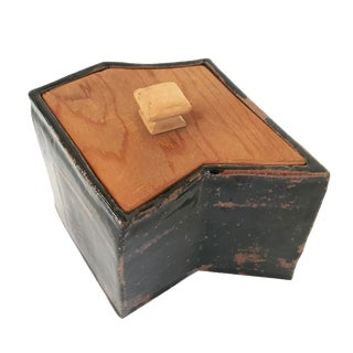 Rustic Hand-Built Ceramic Container For Sale