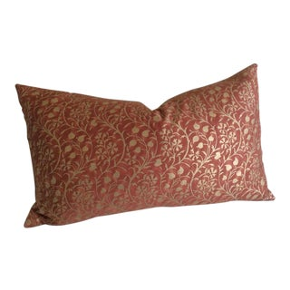 "Fortuny ""Granada"" Burgundy & Gold Pillow For Sale"