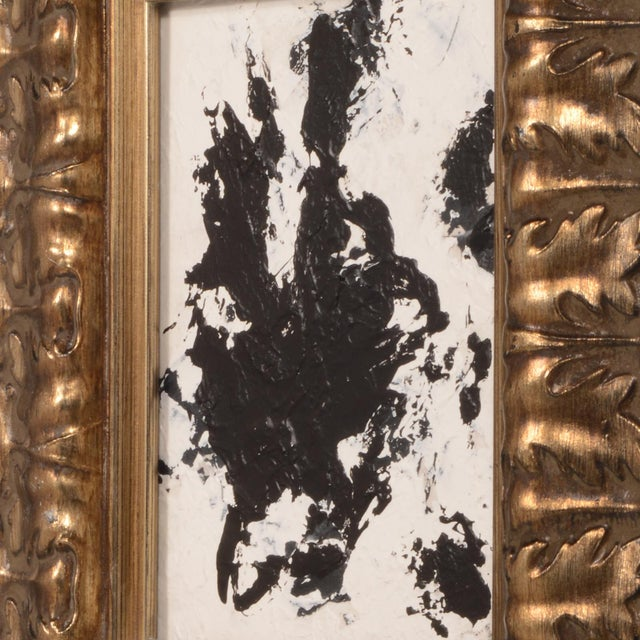 Stephen Hansrote Original Abstract Black and White Painting With Ornate Frame Signed Stephen Hansrote For Sale - Image 4 of 6