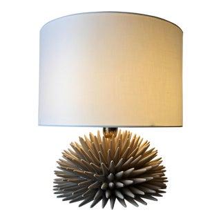 Italian Ceramic Sea Urchin Lamp & Shade For Sale