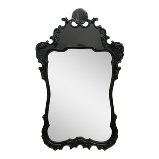 Large Mid Century Black Lacquered Mirror