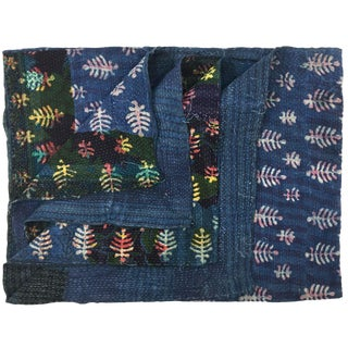 Super-Thick Indigo and Batik Vintage Kantha Quilt For Sale
