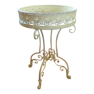 Pale Yellow Metal Side Table