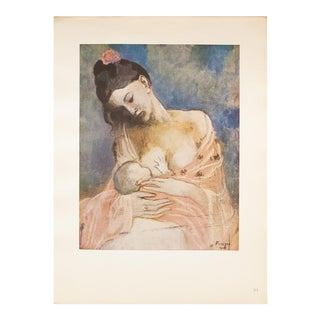 """1948 Pablo Picasso Original """"Mother and Child"""" Period Lithograph With C. O. A. For Sale"""