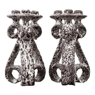 Pair of Marius Giuge Candlesticks for Vallauris, France, 1960s For Sale