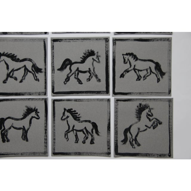 2020s Minimalist Horse Paintings Set of 9 by Cleo Plowden For Sale - Image 5 of 8