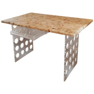 Incredible Lucite Desk With Riverstone Top For Sale