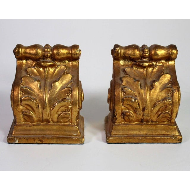 1940's Hollywood Regency Neoclassical Romanesque Scroll Gilt Bookends - a Pair For Sale - Image 4 of 8