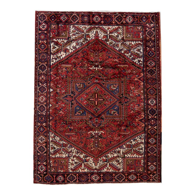 "Vintage Persian Heriz Handmade Wool Rug, 7'9"" X 10'3"" For Sale"