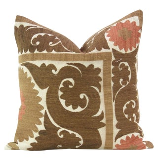 Brown Vintage Suzani Square Pillow