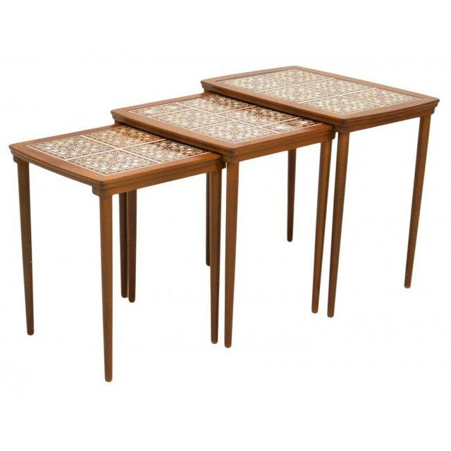 Danish Tile Top Nesting Tables - Set of 3 - Image 2 of 4