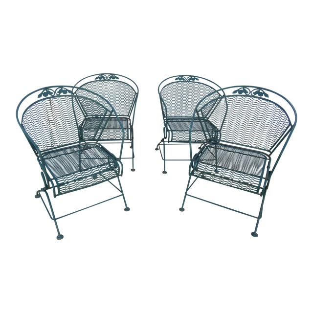 Vintage Spring Patio Dining Chairs - Set of 4 For Sale
