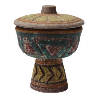 Heavily Textured Vintage Italian Studio Ceramic Lidded Compote / Urn For Sale