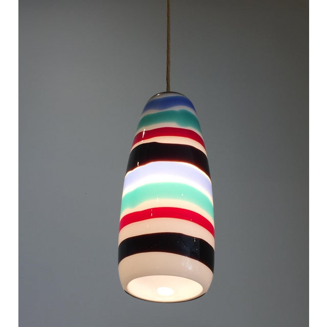 Blown Glass Mid Century Striped Pendant Light For Sale - Image 7 of 7