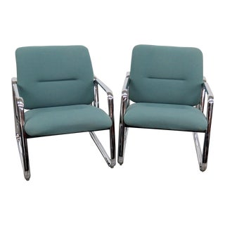 Steelcase Mid-Century Modern Chrome Arm Chairs - a Pair For Sale