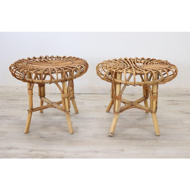 20th Century Italian Bamboo and Rattan Living Room Set of 4 Pieces, 1960s For Sale - Image 9 of 13