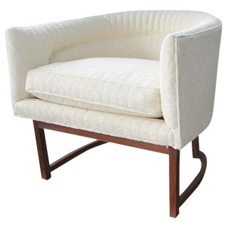 1960s Mid-Century Modern Upholstered Tub Chair on Walnut Base For Sale