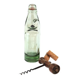 Antique English Codd Bottle With Codd Bottle Opener, Corkscrew - a Pair For Sale