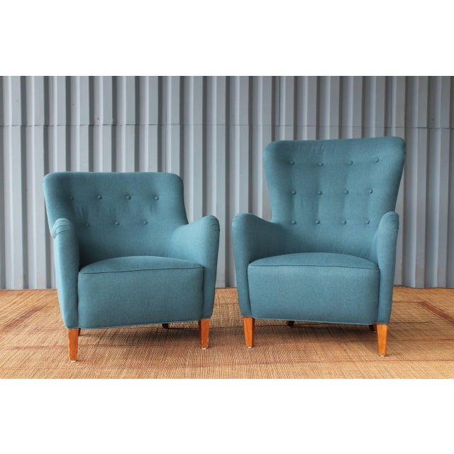 Textile Dark Teal Armchair by Ernest Race, 1940s, England For Sale - Image 7 of 9