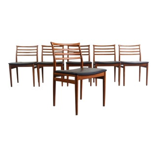 Danish Modern Erling Torvits Dining Chairs in Teak w/ Black Leather Seats, Denmark For Sale