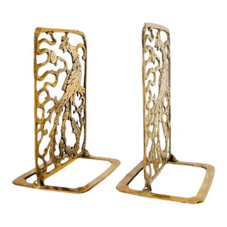 Vintage Phoenix Brass Bookends - a Pair For Sale