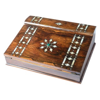 Mid 19th Century Vintage Rosewood & Mother Pearl Writing Slope Box For Sale