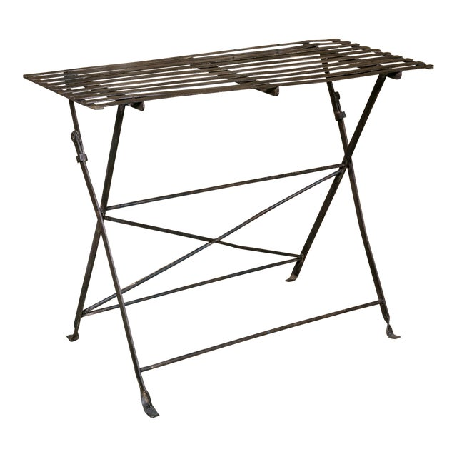 French Iron Folding Table with Metal Slat Top, circa 1920 For Sale