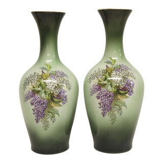 Lilac Transferware Pottery Vases, Pair For Sale
