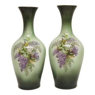 Lilac Transferware Pottery Vases, Pair
