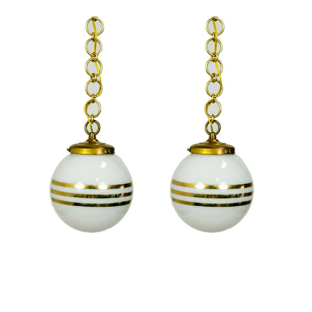 14-Karat Gold Striped Round White Glass Pendants - a Pair For Sale - Image 9 of 9