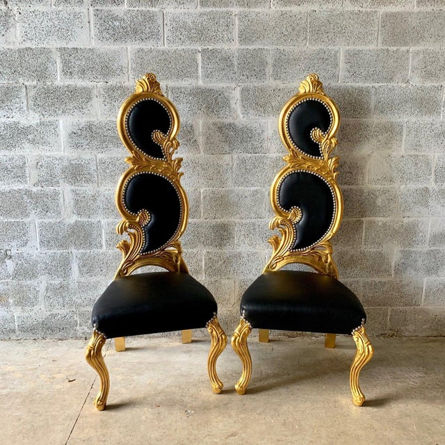 Italian Baroque White Leather and Gold Leaf Finish Chairs- A Pair For Sale - Image 11 of 12