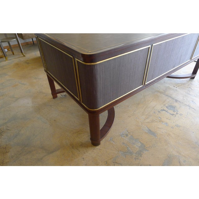 Restored Expansive Modern French Art Deco Executive Desk - Image 11 of 13