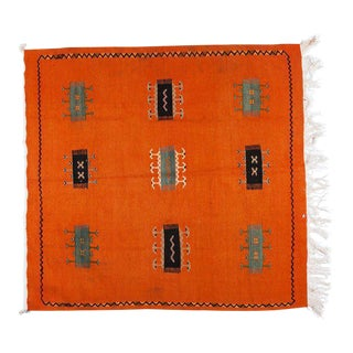 Berber Rug - Handwoven Wool With Orange Organic Dye For Sale