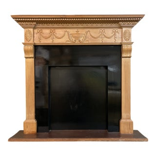 English Pine Faux Fireplace, New York Estate Piece For Sale