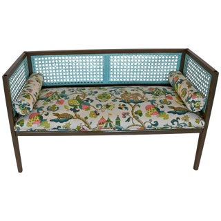 Mid-Century Modern Lacquered & Newly Upholstered Regency Style Settee