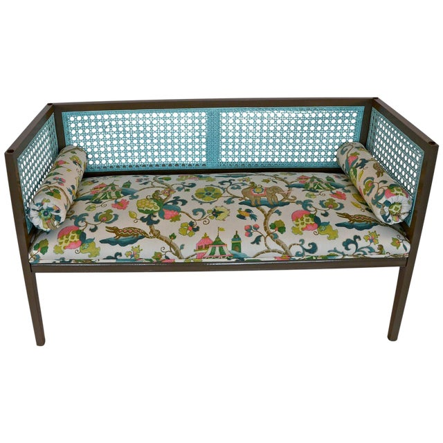 Mid-Century Modern Lacquered and Upholstered Regency Style Settee - Image 1 of 6