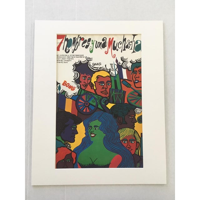 """Pop Art 1970s Vintage """"7 Hombres Y Una Muchacha"""" Print of Cuban Poster for French Film For Sale - Image 3 of 3"""