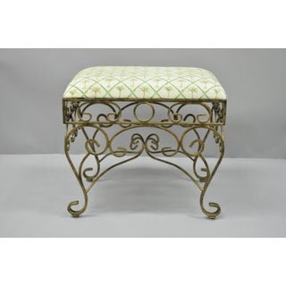 Mediterranean French Style Scrolling Iron Gold Upholstered Stool Bench Preview