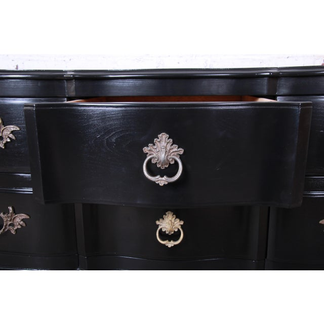 John Widdicomb French Provincial Louis XV Ebonized Dresser, Newly Refinished For Sale - Image 10 of 13