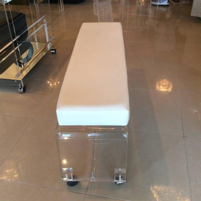 Lucite White Leather Waterfall End of Bed Bench Seat - Image 4 of 10