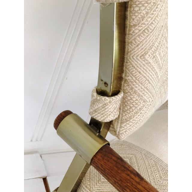 Metal 1970s Mid Century Brass Milo Baughman Style Campaign Director's Chair For Sale - Image 7 of 11
